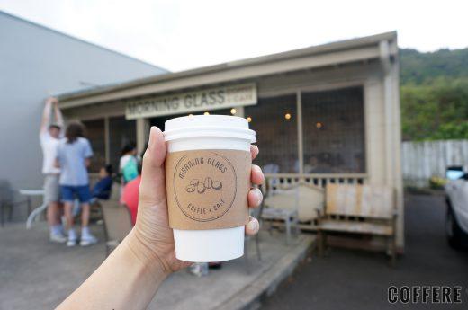 MORNING GLASS COFFEE MANOAのテイクアウトカップと店舗