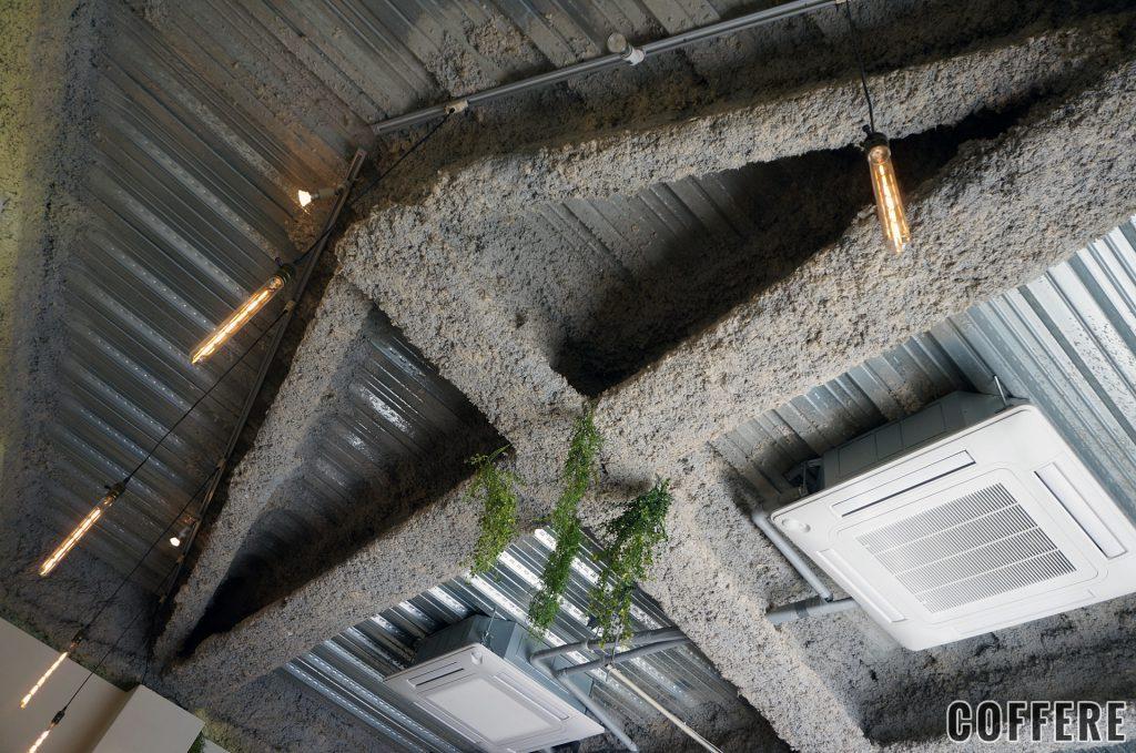 無機質な天井に緑を添えることでおしゃれな空間に