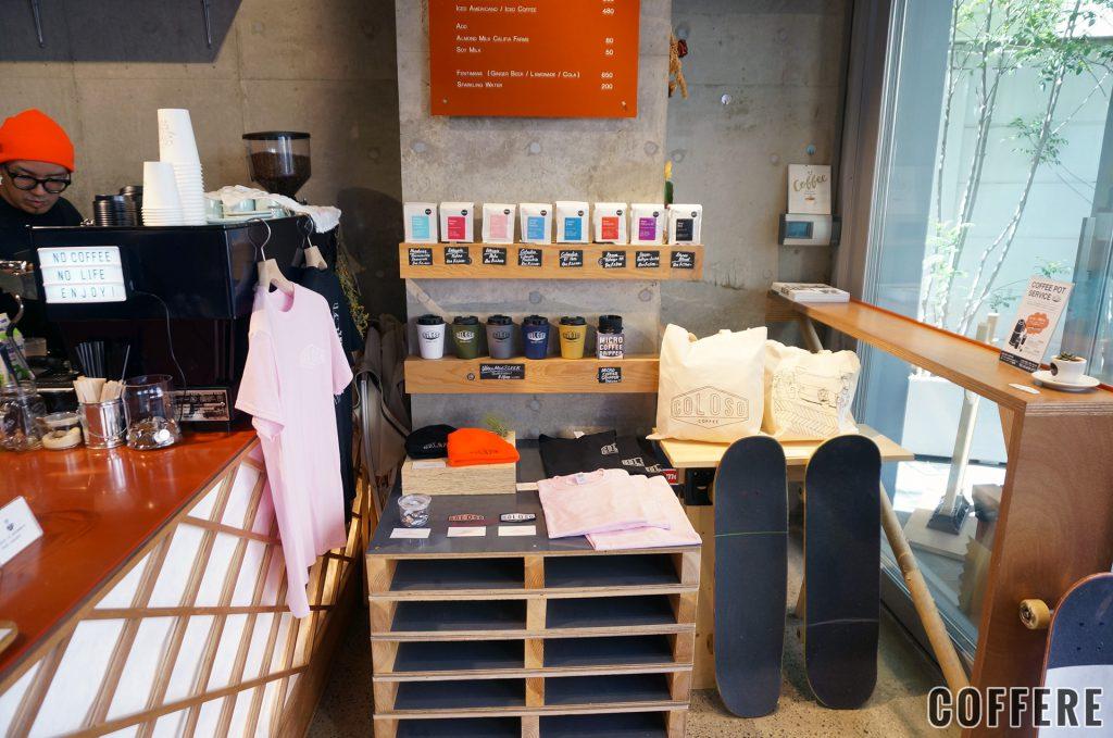 COLOSO COFFEE TOKYOの物販コーナー