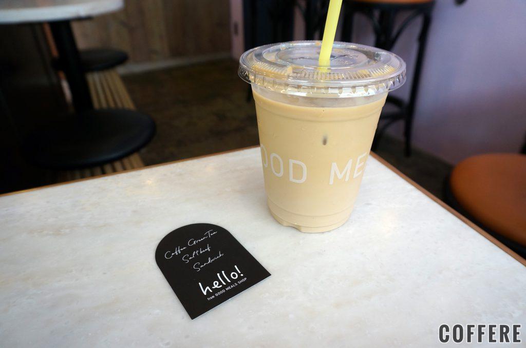 hello!from GOOD MEALS SHOPのカフェラテとショップカード