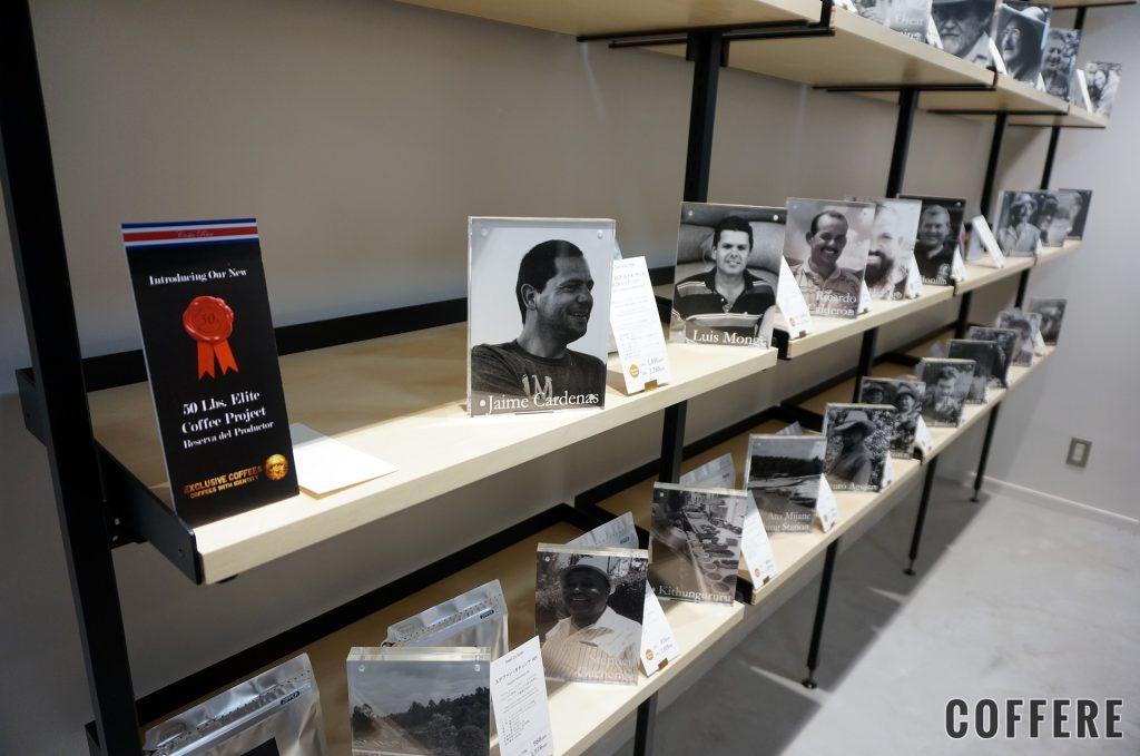 丸山珈琲 表参道 Single Origin Storeの店内にある生産者の顔写真