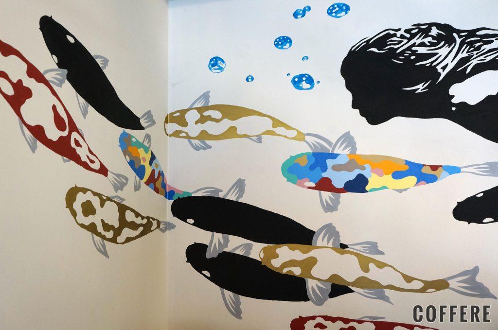 SHIROUZU COFFEE 警固店の壁のアート